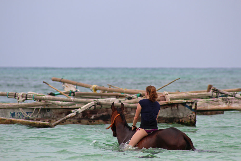 Bareback swimming on horseback in Kiwengwa, Zanzibar.