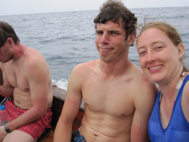 Riding on the dhow to go snorkeling around Mnemba Island.