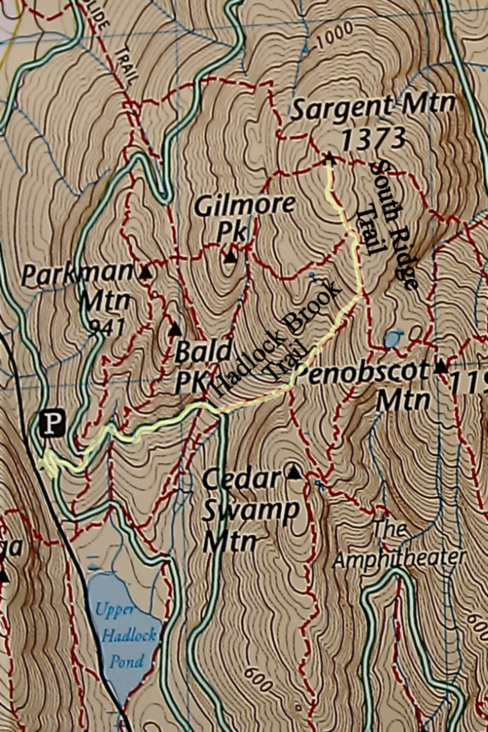 Map of Hadlock Brook Trail and South Ridge Trail up Sargent Mountain