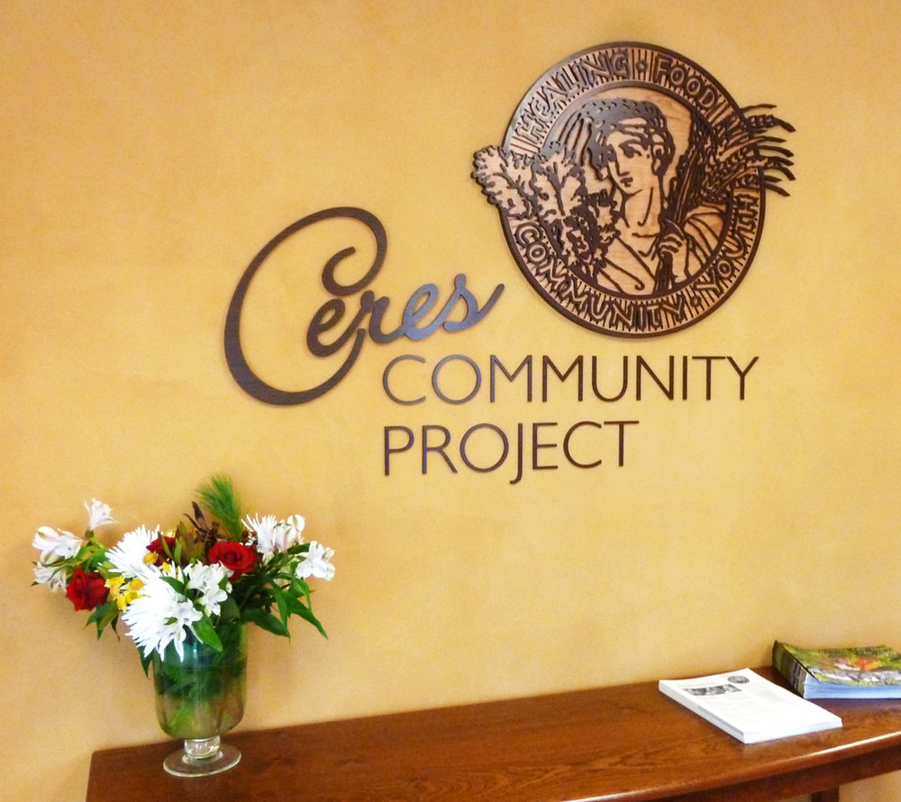 Laser cut wood signage layers Ceres custom sign