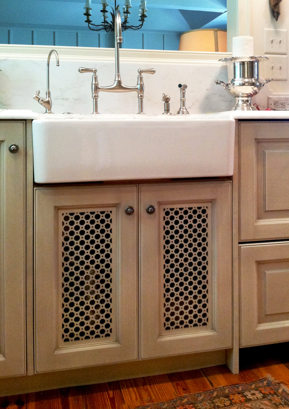 Design Galleria  Custom kitchen cabinet lattice pattern
