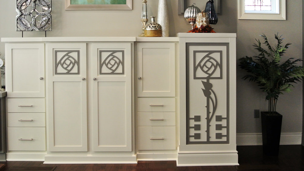 Moon Township, PA -  Julia Wilhelm  Custom Rose pattern, Decorative cabinet panels