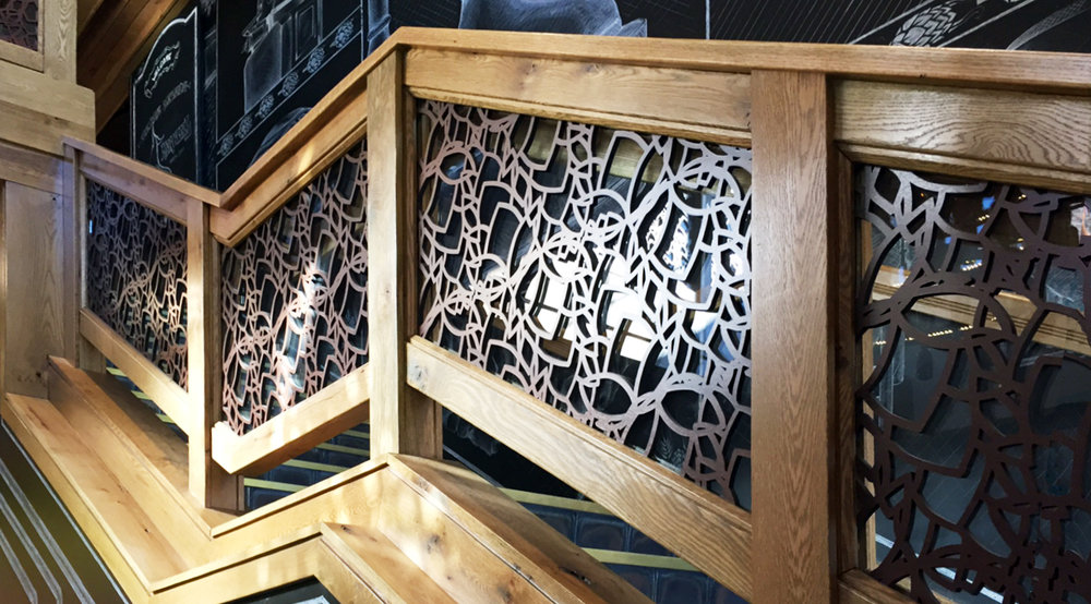 Laser cut stair railing custom