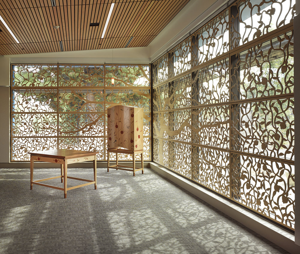 Gideon Hausner School, Palo Alto, CA  -  Studio Bondy Architecture   Custom tree design, Window panels