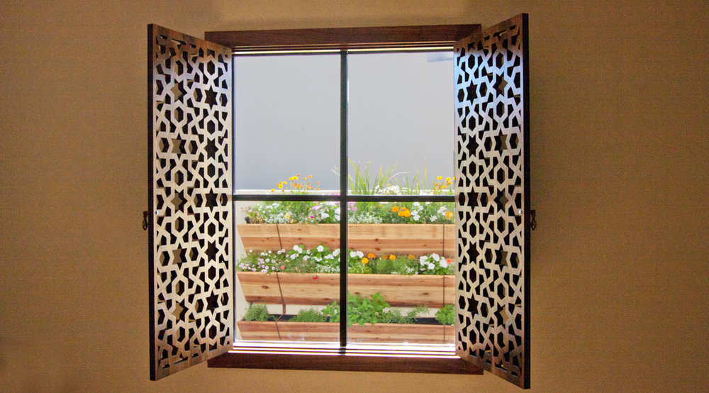 Phoenix, AZ -  TF Quality Woodworking  Arabic Geometric, Stained window shutters