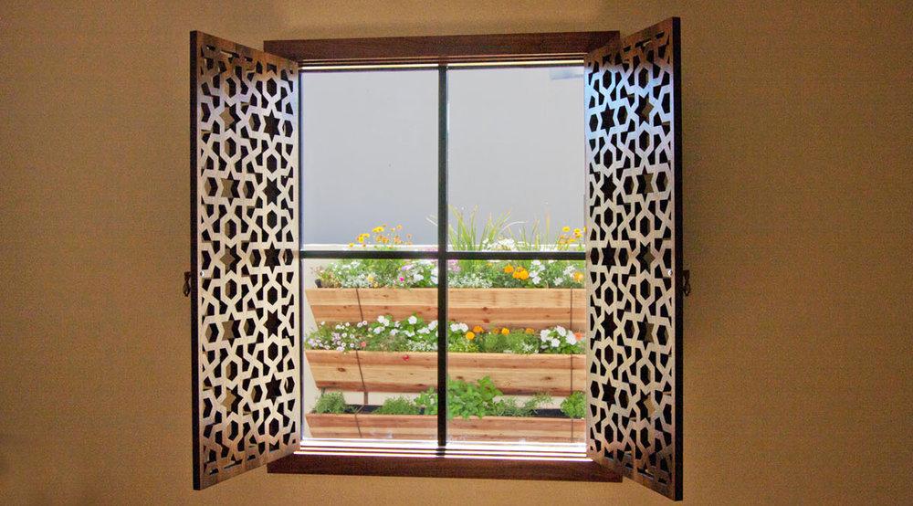 Phoenix, AZ - TF Quality Woodworking  Arabic Geometric, Stained window shutters,