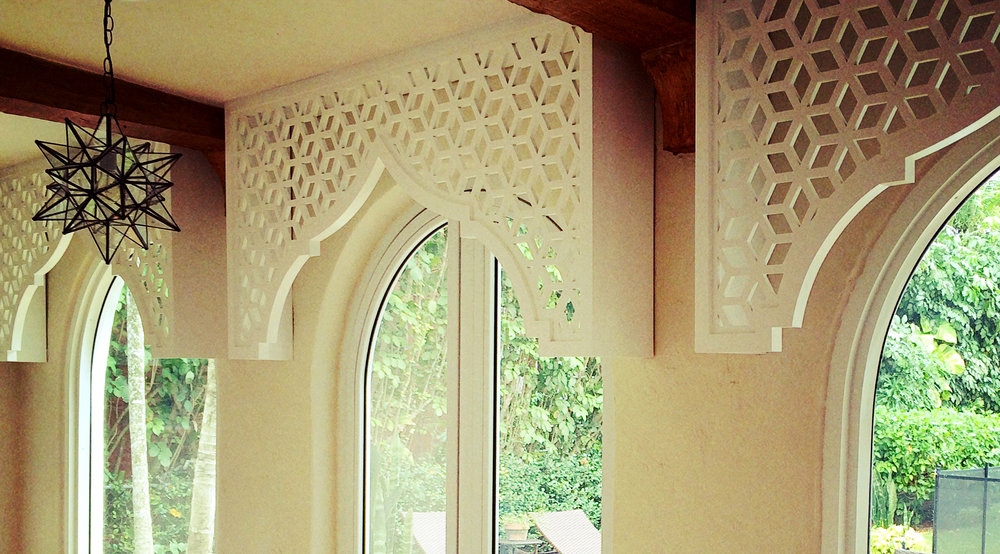 Residence, Miami FL -   Trace Design Studio  Casablanca, Painted window valance