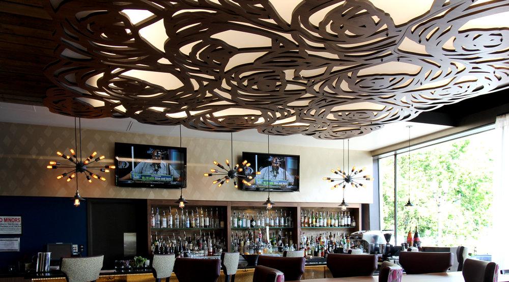 Hotel Rose, Portland, OR   Custom rose pattern, Backlit ceiling panels