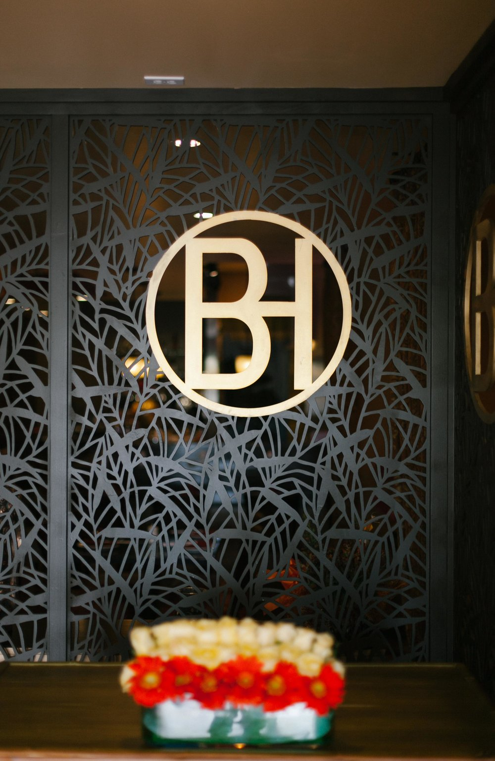 Laser cut wood panel with restaurant logo Bamboo House