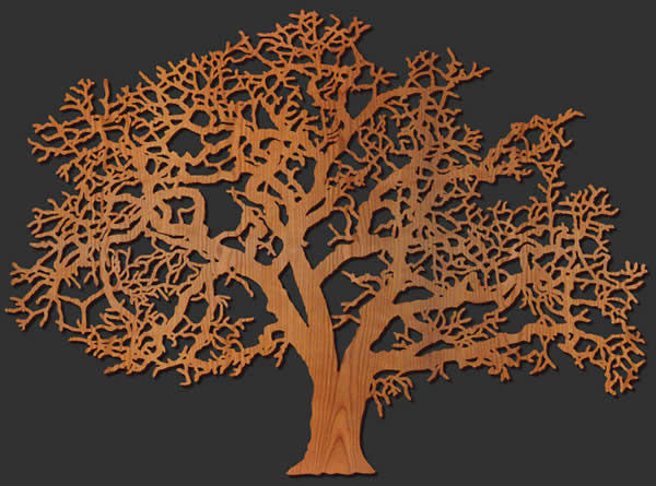Oak Tree Wood Wall Art Lightwave Laser
