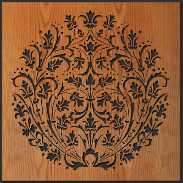 Rising flowers wood wall art lightwave laser for Wood decoration patterns