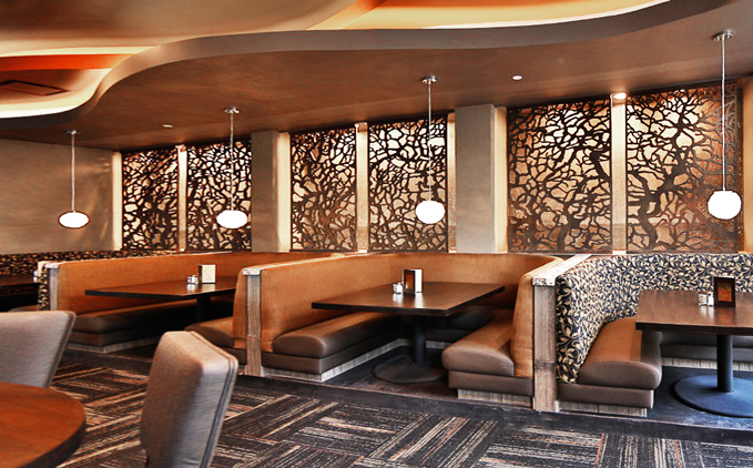 Twigs Restaurant -  Paint Room Studios  Branches pattern, laser cut wall panel