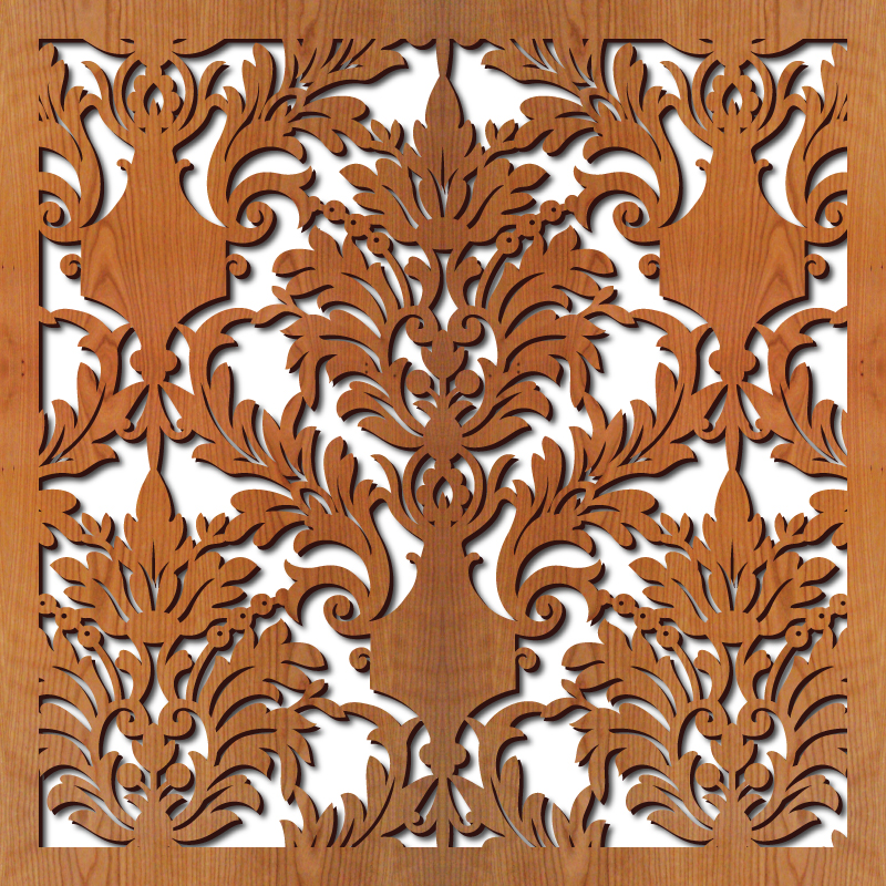 Damask rendering 23 in. x 23 in.