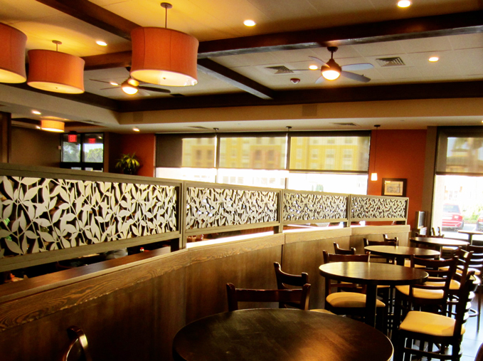 Jack's Restaurant, San Francisco, CA -  Bellusci Design  Heavenly Bamboo pattern, booth divider