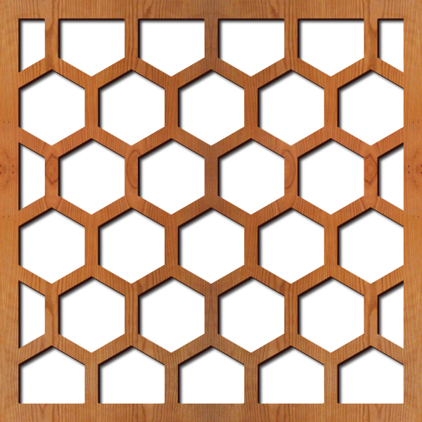 "Honeycomb pattern at 23"" x 23"" scale"
