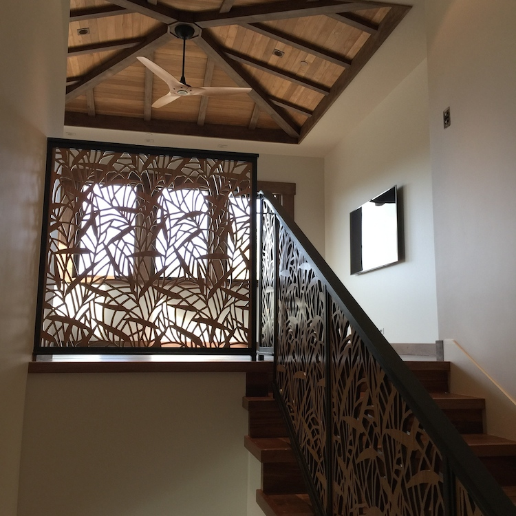 Private residence, Ventura, CA -  Chris Moore  Japanese Bamboo pattern, stairway railing