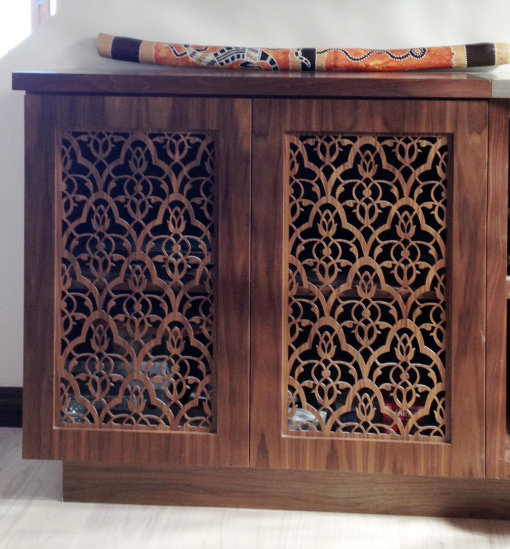 Moorish Leaves pattern, custom cabinet