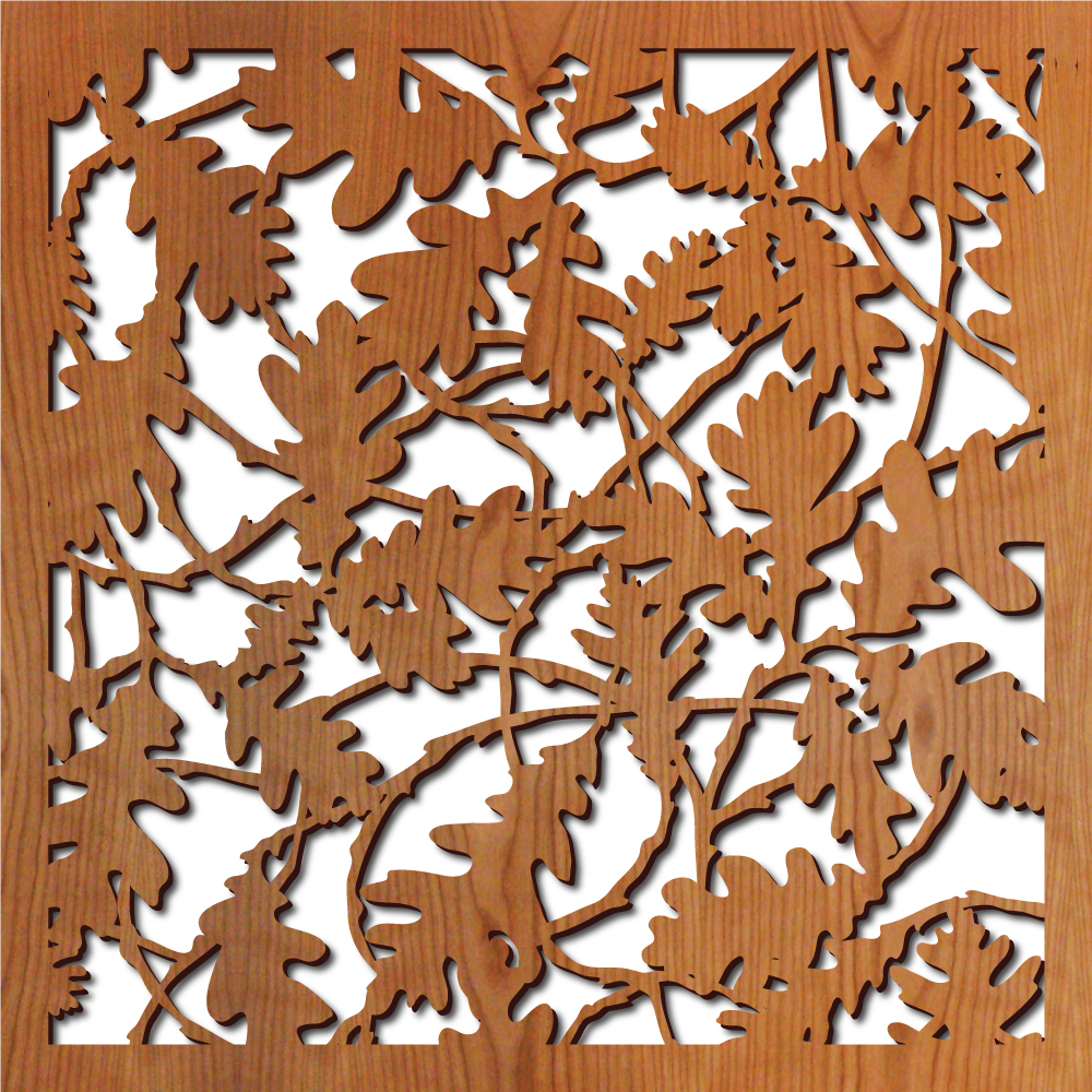 "Oak Leaves pattern at 23"" x 23"" scale"