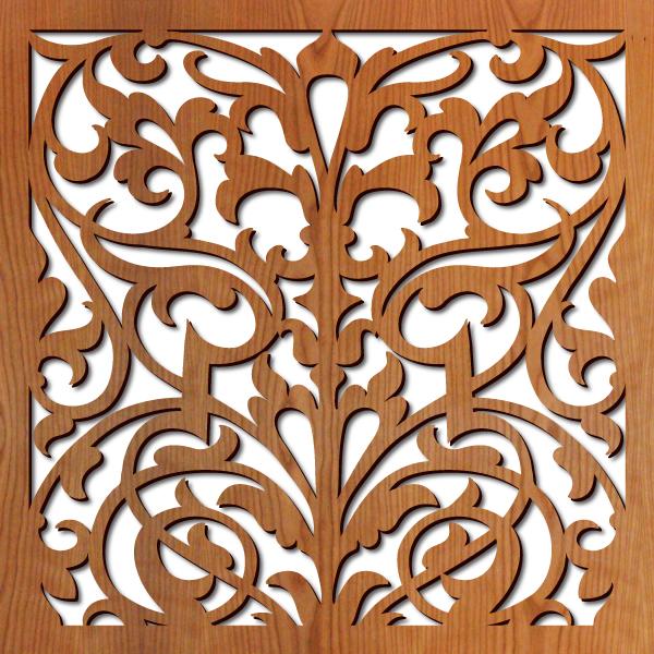 """Ornate Damask pattern at 23"""" x 23"""" scale"""