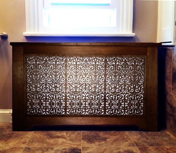 Ornate Damask pattern, radiator cover