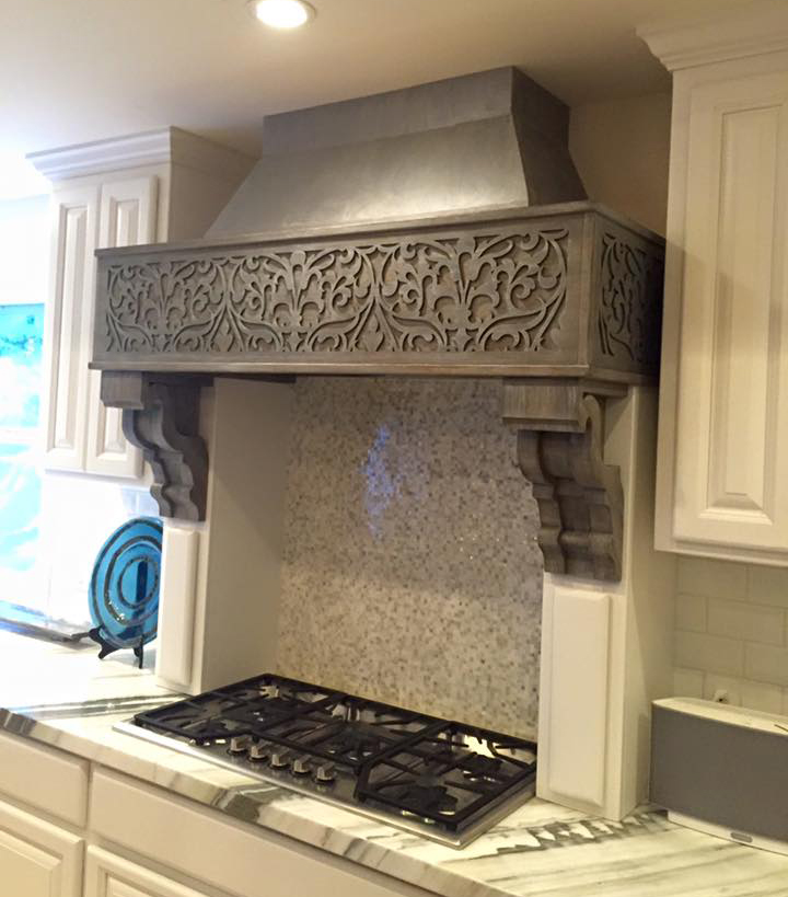 Ornate Damask pattern, kitchen fan cover