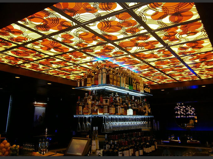 Buckeye Hospitality Construction -- Ocean Prime Restaurant, Columbus, OH   Rain On Water pattern, laser cut lit ceiling panels