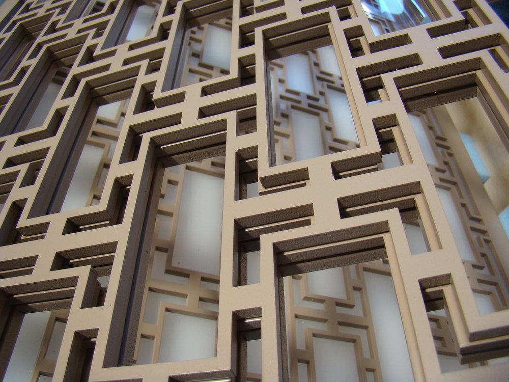 Rectangular Lattice pattern, laser cut wall panel detail