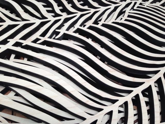 Wispy Palms pattern, laser cut wood detail
