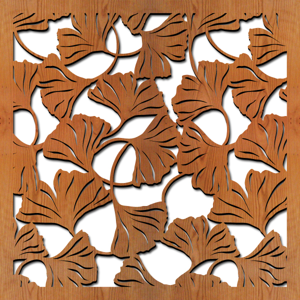 """Ginkgo Leaves pattern at 23"""" x 23"""" scale"""