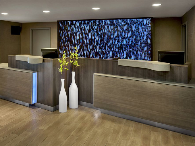 Fairfield Inn Marriott -Bast Hatfield Construction   Waterfall, back lit panel