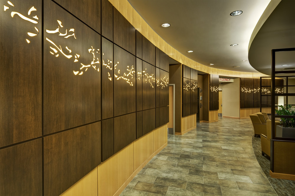 Baylor Medical Center, Trophy Club, TX  - Steven Vaughan Photography  Custom design, backlit wall panels