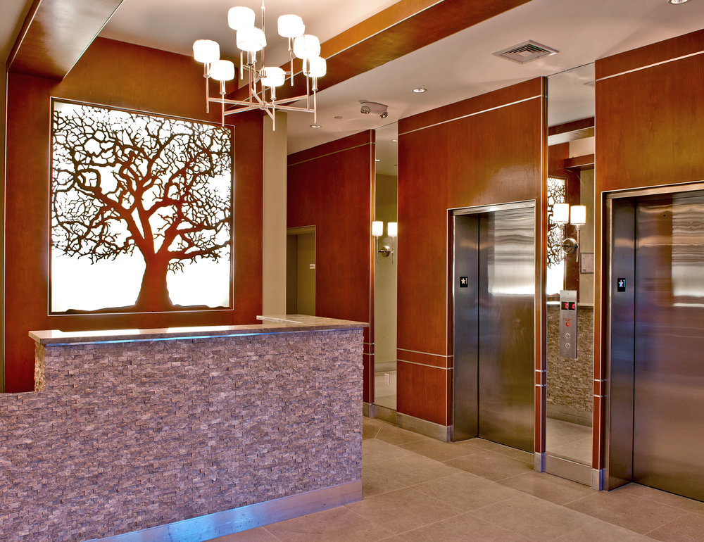 Sycamore Lobby Apartments, NY -  Clearview Development  Custom Tree, backlit panel