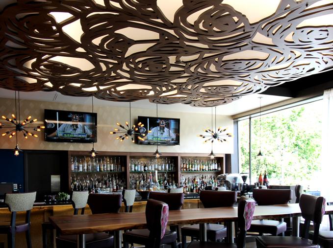 Hotel Rose, Portland, OR   Custom Rose pattern, back lit ceiling panel