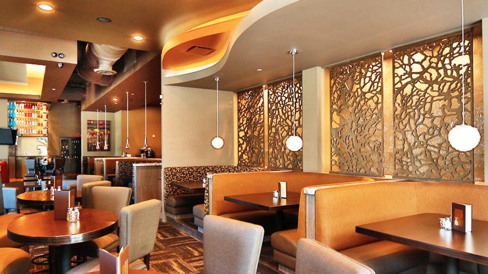 Twigs Restaurant,Spokane, WA  -Paint Room Studios  Branches, back lit wall panel