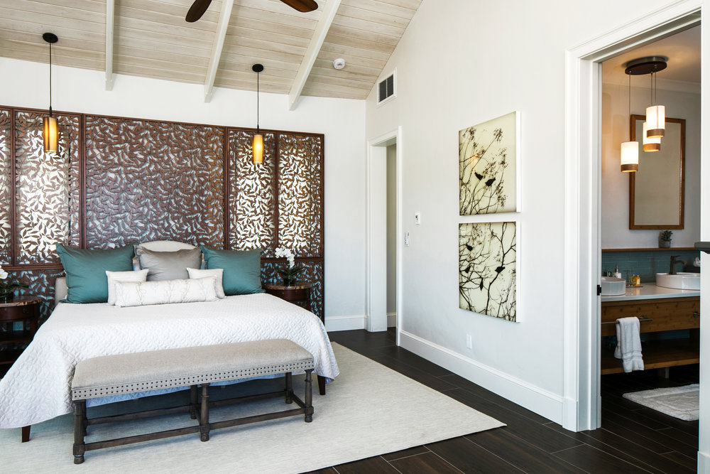 Morgante Wilson Architects  - Residence, St. John, FL  Heavenly Bamboo, Decorative headboard and window screen