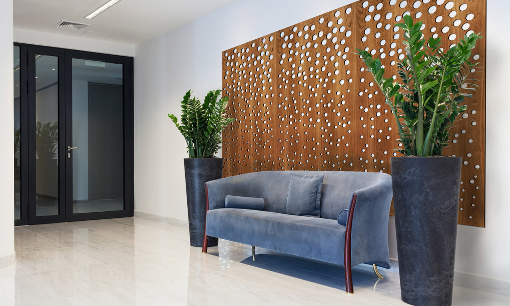Installation Rendering A   Champagne decorative office wall panel - shown in Cherry wood