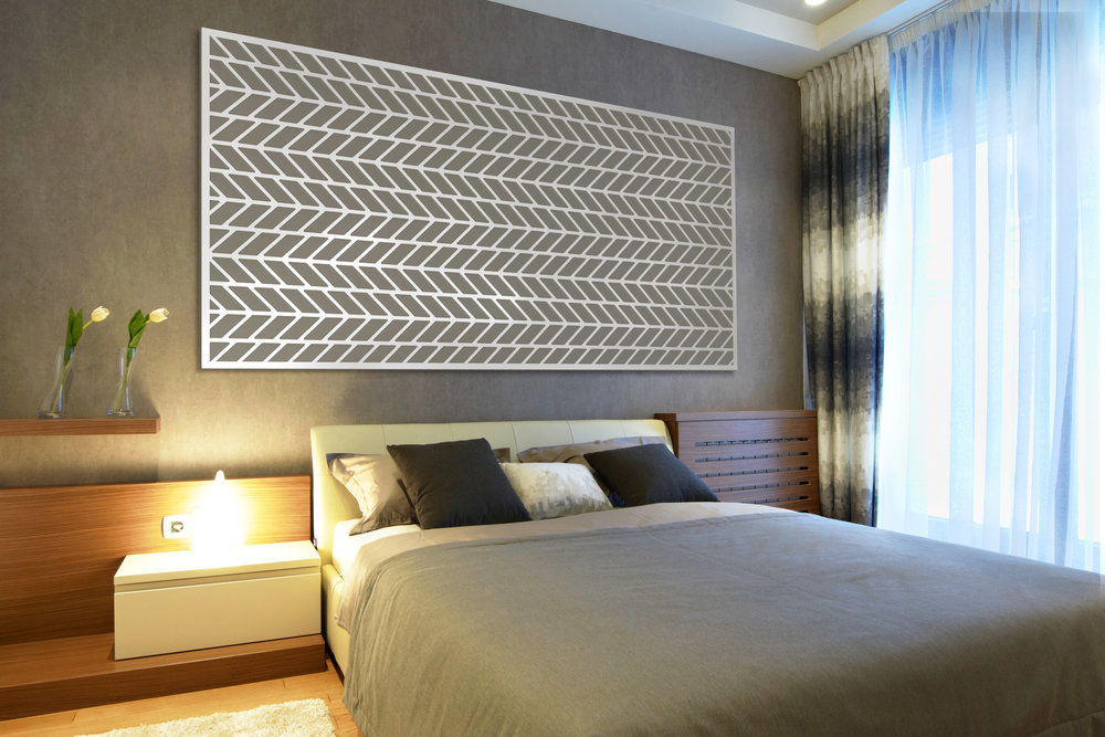 Installation Rendering C   Chevron decorative hotel wall panel - painted