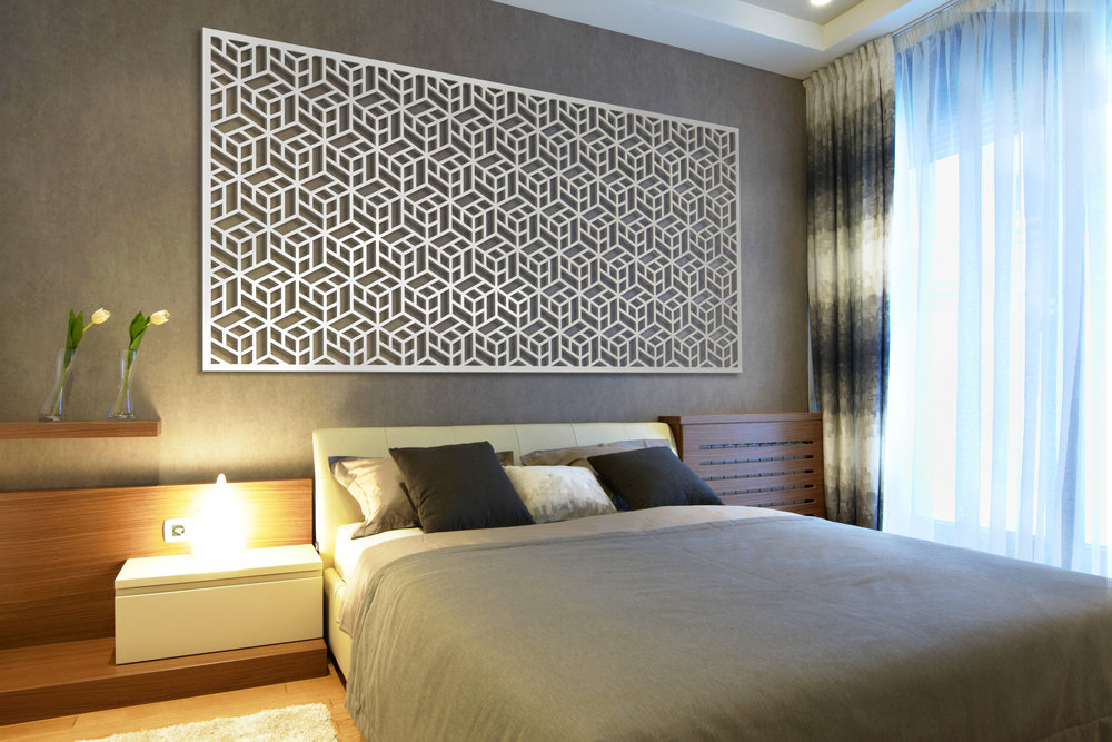 Installation Rendering A   Chinoise Cube decorative office wall panel - shown in Cherry