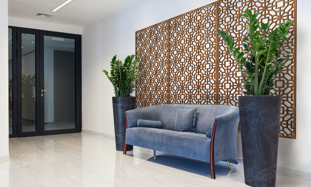 Installation Rendering A   Eastern Blossom decorative office wall panel - shown in Cherry