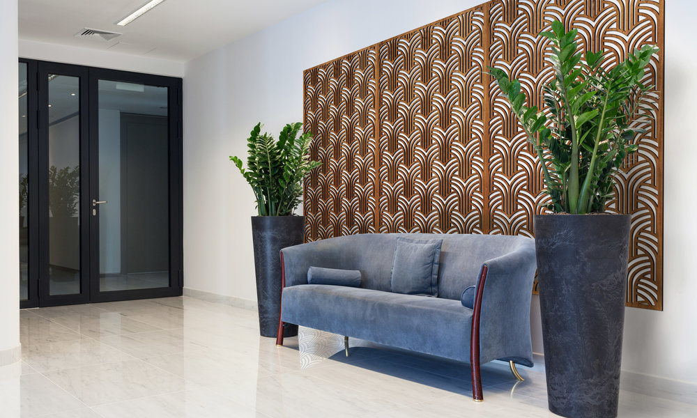 Installation Rendering A   Gatsby Arches decorative office wall panel - shown in Cherry