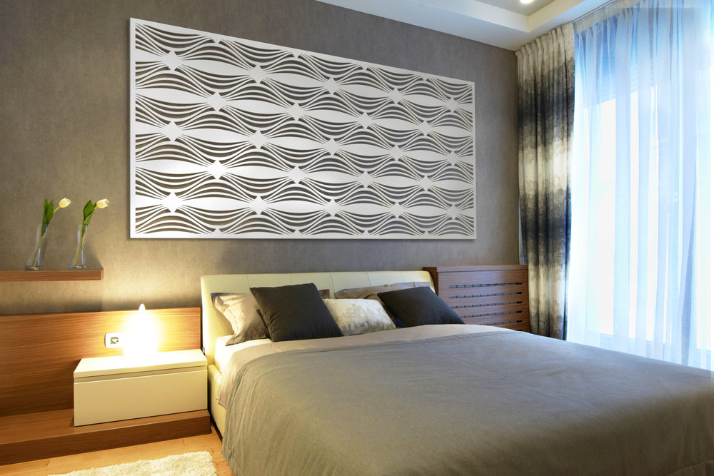 Installation Rendering C   Hour Glass decorative hotel wall panel - painted