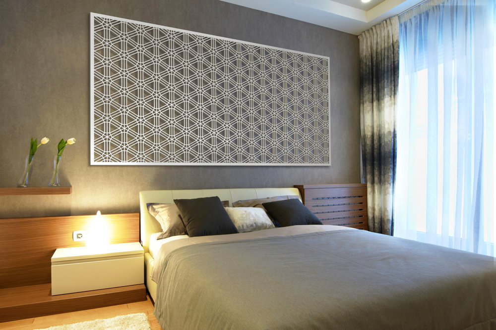 Installation Rendering C   Interlocking Wheels decorative hotel wall panel - painted