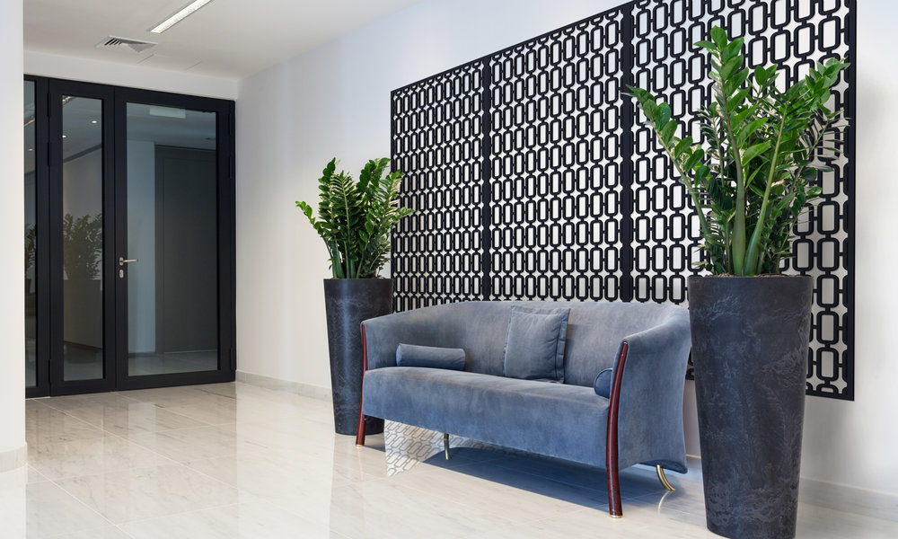 Installation Rendering B   Mezzo Grille decorative office wall panel - painted