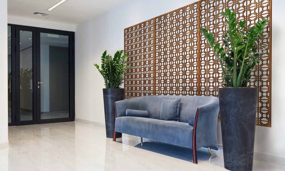 Installation Rendering A   Perry Grille decorative office wall panel - shown in Cherry