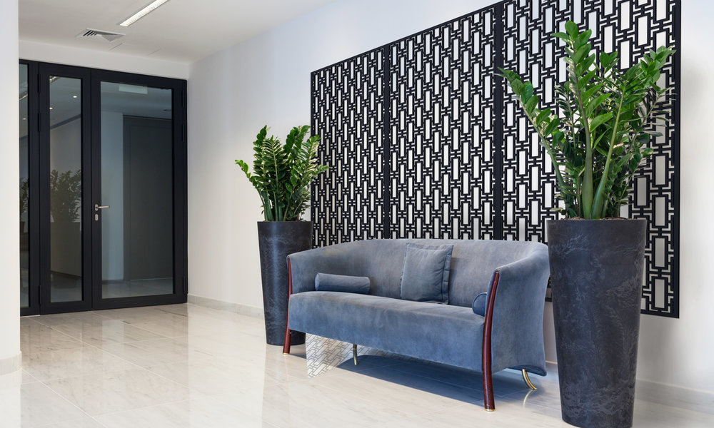 Installation Rendering B   Rectangular Lattice decorative office wall panel - painted