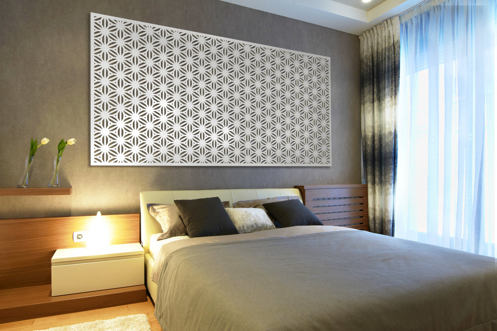 Installation Rendering C   Reverse Flower Thick decorativehotel wall panel - painted