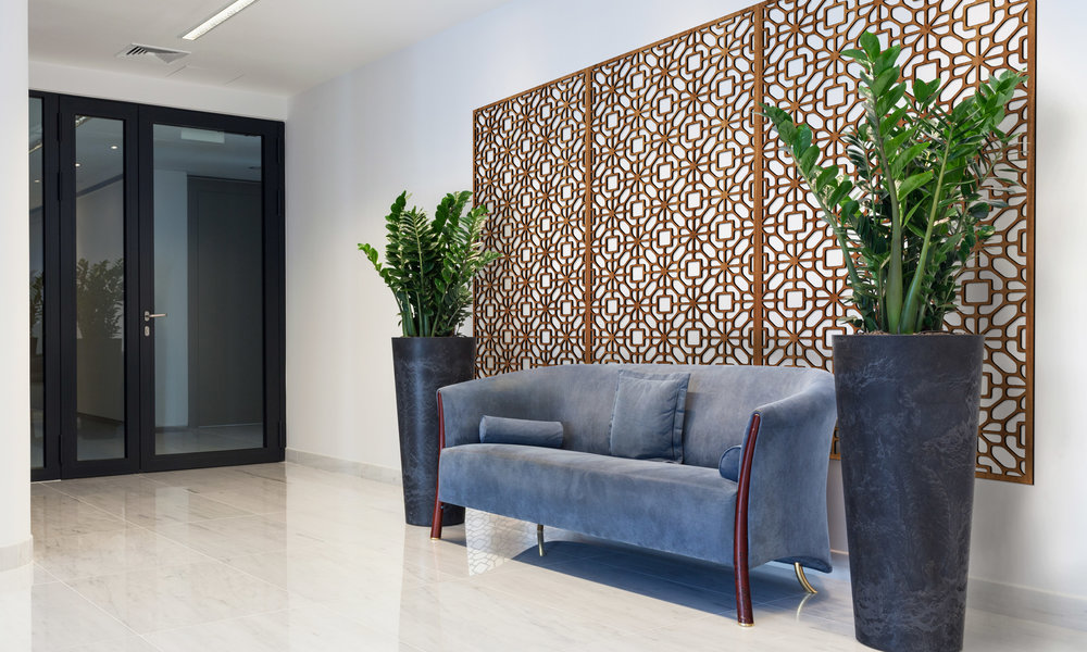 Installation Rendering A   Silver Flowers decorative office wall panel - shown in Cherry