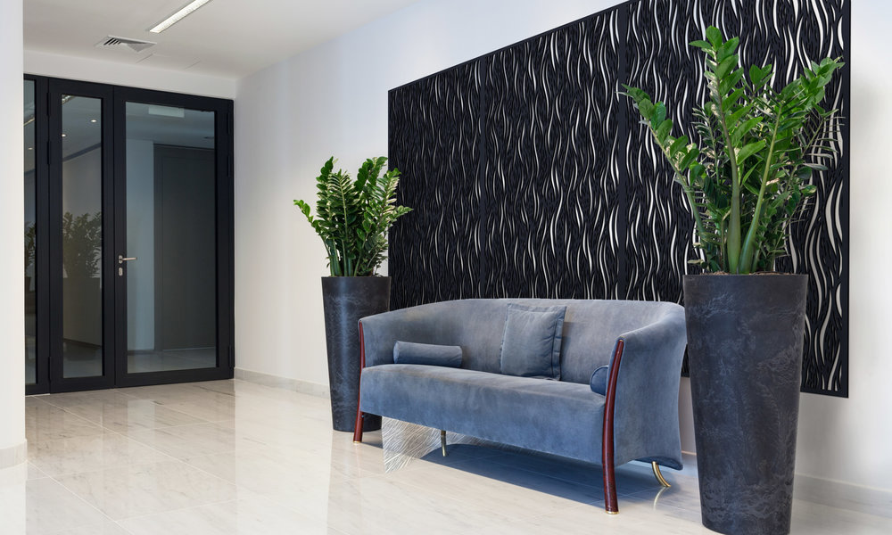 Installation Rendering B   Waterfall decorative office wall panel - painted
