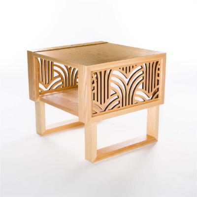 Lightwave Laser Wispy Palms Design, Twist Modern Side Table
