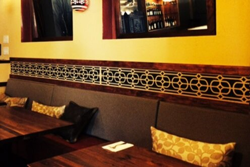 Sukho Thai Restaurant, Oakland, CA -  Lane Design Studio  Lounge Grille pattern, restaurant booth divider